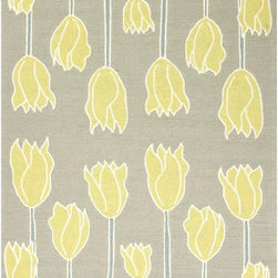 Jaipurrugs - Durable Gray/Yellow Tulips Rectangle Rug Border Color Smoke Blue 2' x 3' - Indoor-Outdoor Durable Polypropylene Gray/Yellow Tulips Rectangle Rug Border Color Smoke Blue 2' x 3'.