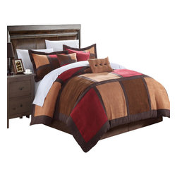 Chic Home - Diana Microsuede Burgundy and Browns Queen 7 Piece Comforter Bed in a Bag Set - Ever feel the softness of microsuede fabric? it feels like soft plush suede that is so smooth you'll never want to get out of bed. This is one of our most exclusive fabrics that we have designed in this pieced colorblock bold patchwork details and even added embroidered pillows. No more cold winter nights.. this microsuede, comforter set will have you feeling so warm and cozy all winter long.
