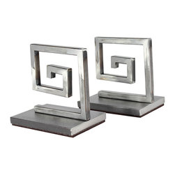 vanCollier - Meander Bookends - Meander Bookends from the Philippe Collection. Steel Greek key inspired bookends with weighed base.  Measures 4″ w x 6″ h.