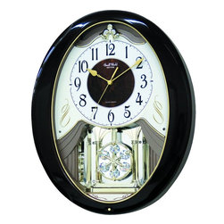 "Rhythm Clocks - 17"" x 14"" Sable Snowflake Musical Wall Clock - At the top of each hour, the MAGIC Begins!"