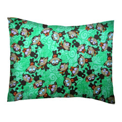 SheetWorld - SheetWorld Crib / Toddler Percale Baby Pillow Case - Monkeys Green - Made in USA - Baby or Toddler pillow case. Made of an all cotton percale fabric. Opening is in the back center and is envelope style for a secure closure.