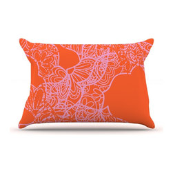 "Kess InHouse - Patternmuse ""Mandala Pumpkin"" Orange Pink Pillow Case, Standard (30"" x 20"") - This pillowcase, is just as bunny soft as the Kess InHouse duvet. It's made of microfiber velvety fleece. This machine washable fleece pillow case is the perfect accent to any duvet. Be your Bed's Curator."