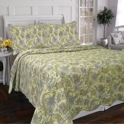 None - Rainforest Garden 3-Piece Quilt Set - Snuggle up and protect yourself from the chill of night with this comfortable 3-piece cotton quilt set. Patterned in a multicolored arrangement of flowers and plants,this garden-themed quilt set is a beautiful addition to your bedroom motif.