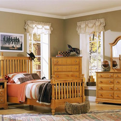 Vaughan Bassett - 5 Pc Youth Slat Poster Bedroom Set in Pine Fi - Choose Bed Size: TwinIncludes slat poster bed, commode, chest, double dresser and vertical mirror. Pine finish. Assembly required. Commode:. 2 Drawers. 1 Open shelf. 28 in. W x 16 in. D x 29 in. H. Chest:. 5 Drawers. 38 in. W x 18 in. D x 54 in. H. Double dresser:. 6 Drawers. 52 in. W x 18 in. D x 36 in. H. Vertical mirror: 35 in. L x 2 in. W x 40 in. H. Slat poster bed:. Twin Size:. Includes slat poster headboard, slat poster footboard and wood rails with 3 1-inch slats. Slat poster headboard: 42.5 in. L x 3 in. W x 58 in. H. Slat poster footboard: 42.5 in. L x 3 in. W x 35 in. H. Full Size:. Includes slat poster headboard, slat poster footboard and wood rails with 3 1-inch slats. Slat poster headboard: 57.5 in. L x 3 in. W x 58 in. H. Slat poster footboard: 57.5 in. L x 3 in. W x 35 in. H. Wood rails: 76 L x 6 in. W x 1 in. H