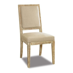 Hooker Furniture - Sanctuary Addison Side Chair - Contemporary style. Upholstered seat and back. Tapered legs. Polyurethane foam 87% and Polyester fiber batting 13% foam used. JLA linen natural fabric. Rustic finish. 19.5 in. W x 25.25 in. D x 40.25 in. HPursue serenity at home. Through the Sanctuary collection, you can create a sanctuary in your own home, a tranquil space that exudes a peaceful calm and grace, almost like a weekend retreat. When you walk into your home at the end of that long day, you will be delighted and your spirit will be renewed.