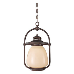 """Murray Feiss - Traditional Feiss McCoy Grecian Bronze Outdoor Hanging Lantern - Add a retro-transitional look to your exterior spaces with this metal and cream glass outdoor hanging lantern. The frame features a deep Grecian Bronze finish that stands boldly against the light glass. Inspired by classic lantern designs updated for today. Includes chain for hanging. From the Murray Feiss outdoor lighting collection. Comforting style hanging outdoor ceiling light. Metal and glass construction. Grecian Bronze finish. Beautiful cream glass. From Murray Feiss. One maximum 72 watt bulb (not included). 10 1/2"""" wide. 18"""" high. Canopy is 5 1/2"""" wide.  Comforting style hanging outdoor ceiling light.  Metal and glass construction.  Grecian Bronze finish.  Beautiful cream glass.  From Feiss.  One maximum 72 watt bulb (not included).  Damp location rated only.  10 1/2"""" wide.  18"""" high.  Canopy is 5 1/2"""" wide."""