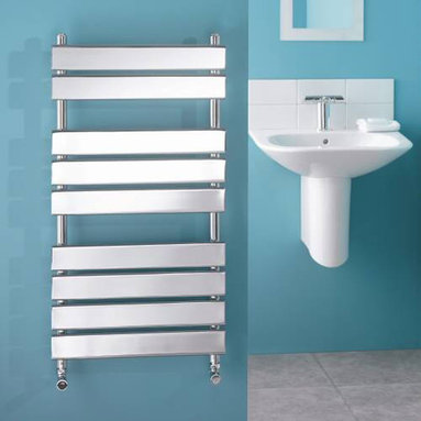 Hudson Reed - Designer Flat Panel Chrome Plated Towel Radiator Rail 37.4 x 19.7 - This compact, Flat Panel Heated Towel Rail boasts a high quality chrome plate finish and gives a heat output of 316 Watts (1,078 BTUs), enough to dry your towels and heat a small bathroom or cloakroom. With 9 horizontal polished chrome flat panels, this designer radiator is the stunning focal point of any modern bathroom, shower room, cloakroom or ensuite and can take pride of place in other domestic settings, where it provides valuable background heat. Supplied complete with a fixing pack for wall mounting, and suitable for all household heating systems, the 37.4 x 19.7 Flat Panel Towel Rail connects to your heating system via the radiator valves included. Signelle Designer Flat Panel Chrome Plated Towel Radiator Rail 37.4 x 19.7 Details  Dimensions: (H x W x D) 37.4 x 19.7 x 3.75 Output: 316 Watts (1,078 BTUs) Number of cross panels: 9, divided into 3 sections of 2, 3, 4 Pipe Centres: 17.13 Fixing Pack Included Suitable for bathroom, cloakroom, kitchen etc. Expertly plated with high quality 62.5 micron chrome on copper plated mild steel, with swagged oven brazed joints. Tested to BS EN442 - 10 bar maximum working pressure 5 Year Guarantee (12 months for surface finish) Please note: Radiator valves are supplied with the flat panel towel warmer. Choose from straight or angled radiator valves.  Buy now, to transform your bathroom, at an affordable price. Please Note: Our radiators are designed for forced circulation closed loop systems only. They are not compatible with open loop, gravity hot water or steam systems.