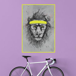 My Wonderful Walls - Hipster Lion Wall Decal Sticker by Balázs Solti, Large - - Product:  hipster lion in yellow sweat band and glasses