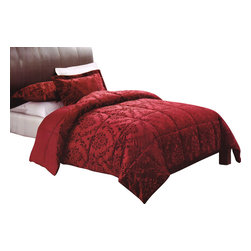 Pem America - Damask Embossed Full / Queen Comforter With 2 Shams - Bring a touch of formal tradition into your bedroom.  This mink fleece comforter has an embossed damask pattern on the face cloth for added surface texture.  The comforter reverses to a coordinating solid color. Full /Queen comforter 90x90 inches and 2 standard size shams 20x26 inches. With embossed pattern on comforter face. Face is 100% Polyester. Filled with 100% hypoallergenic polyester. Machine washable.