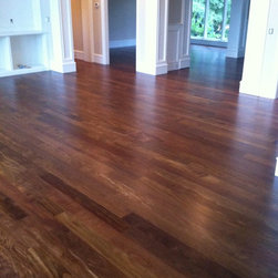 Sucupira Hardwood Flooring Installation & Finishing - 5 inch Sucupira (Brazilian Chestnut) flooring installed and finished by Green Step Flooring, Inc. DuraSeal Neutral stain and Bona Traffic HD satin finish. Home is located in Preston Cary, NC