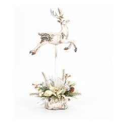 White Glittered Christmas Deer - Custom, white washed glittered deer, decorated with a handcrafted silver Christmas floral arrangement.