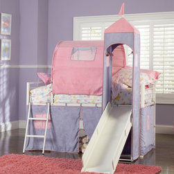 Powell Furniture - Princess Castle Twin Size Tent Loft Bed in Wh - Mattress sold separately. Includes a tent over twin bed and a covered hiding place below. The top of the slide is tented with a Princess Tower with peek through, fold down window covers. Use with twin size mattress that is 74-75 in. L and 37.5-38.5 in. W . Bunk bed is tested and certified by an independent testing laboratory to meet all minimum requirements of ASTM F1427-07 and U.S. CFR 1213 and 1513. Minimal assembly required. 78 in. W x 104.50 in. D x 85 in. H. Assembly Instructions. Bunk Bed Warning. Please read before purchase. NOTE: ivgStores DOES NOT offer assembly on loft beds or bunk beds.