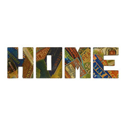 iMax - iMax Vintage Home Sign Wall Decor - Set of 4 X-4-00474 - With graphic, retro seed packet renderings, the vintage Home wall decor is a set of oversized letters that look great in any country kitchen.