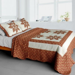 Blancho Bedding - [Maple Leaf] Cotton 3PC Vermicelli-Quilted Patchwork Quilt Set (Full/Queen Size) - Features intricate machine/hand-stitching patterns and beautiful prints with timeless appeal.Creates a cozy and inviting atmosphere and is sure to transform the look of your bedroom.Gives the finishing touch to your room decor; Enjoy a good night's sleep in a luxurious quilt set.Pre-washed, pre-shrunk, reversible and vermicelli-quilted for elegance and durability.Soft materials and high tenacity; Fine and concentrated stitches; Machine washable and dryable.