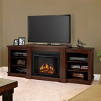 """Real Flame - Hawthorne Electric Fireplace in Dark Espresso - Includes: Mantel, firebox and remote control, screen kit. Shelf dimensions:18.25""""W X 15.25""""D. Fits up to a 50""""(diagonal) TV, 100 lb. weight limit. 1400 Watt, 4780 BTU/hr. heater. Programmable thermostat with display in Fahrenheit or Celsius. Ultra Bright LED technology with 5 brightness settings. Digital readout display with up to 9 hours timed shut off. Dynamic ember effect. 74.72 in. W x 18.82 in. D x 29.88 in. H (149 lbs.)The Hawthorne Electric Fireplace features mission inspired details, arched side panels, a multi level top surface and room for media and A/V component storage; doubling it's use as an entertainment unit. Supports most TV's weighing 100 lbs. or less. The Vivid Flame Electric Firebox plugs into any standard outlet for convenient set up. thermostat, timer function, brightness settings and ultra bright Vivid Flame LED technology."""