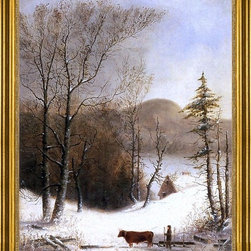 """George Henry Durrie-16""""x20"""" Framed Canvas - 16"""" x 20"""" George Henry Durrie Winter Landscape with Log Cart framed premium canvas print reproduced to meet museum quality standards. Our museum quality canvas prints are produced using high-precision print technology for a more accurate reproduction printed on high quality canvas with fade-resistant, archival inks. Our progressive business model allows us to offer works of art to you at the best wholesale pricing, significantly less than art gallery prices, affordable to all. This artwork is hand stretched onto wooden stretcher bars, then mounted into our 3"""" wide gold finish frame with black panel by one of our expert framers. Our framed canvas print comes with hardware, ready to hang on your wall.  We present a comprehensive collection of exceptional canvas art reproductions by George Henry Durrie."""