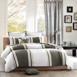 Avenue 8 - Avenue 8 Preston 200TC Comforter Set - The Preston collection will give a cool, casual vibe to any room. The comforter and sham (s) feature an wide olive green and white vertical stripe that is pieced together and accented with a thin khaki stripe made of soft 200TC cotton sateen fabric. The comforter and sham both reverse to a solid olive green color made of 180TC cotton percale. Two decorative pillows are included in the set to complete the whole look. Comforter/sham: 100% cotton 200TC sateen pieced fabric on face, cotton rich print 180TC fabric reverse; comforter with 250gsm poly fill, sham has overlap opening at back; Square Pillow: 100% cotton 200TC sateen fabric pieced with cotton rich fabric cover with embroidery stiting at piecing line; poly fill; Oblong Pillow: cotton rich solid fabric cover, quilted on face side, cotton fabric piping around; poly fill