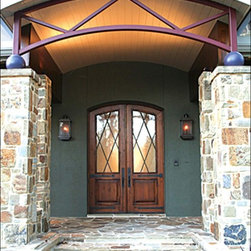 """Custom Entry Double  Arched Doors - Prehung Tempered Beveled Triple Glazed Knotty Alder Wood Arch Top Arch Lite Front Double Door Glass 96"""" Tall Wind-load Rated FSC SFI"""
