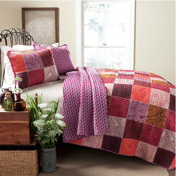 Lush Decor - Paisley Fuchsia Three-Piece Full/Queen Quilt Set - - Uniquely blending the nine distinct color variations this paisley patchwork quilt adds a smooth flowing pattern. Paisley 3 piece quilt will complement any French country bedroom feel. The reverse side features smaller stand alone paisley design  - Set Includes: 1 Quilt, 2 shams  - Care Instructions: Machine wash cold, gentle cycle, only non chlorine bleach when needed, tumble dry low, cool iron if needed   - Fill Content: 100% polyester Lush Decor - C24065Q14-000