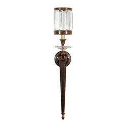 Fine Art Lamps - Eaton Place Rustic Iron Sconce, 605850ST - Opulent and arresting in its detail, this stately wall sconce features a shade made from faceted crystal prisms, which refract the light and lend the piece a seductive sparkle. A matching collar crowns the elongated stem. It is available in your choice of rustic iron or silver-leaf finishes.