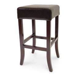 Palecek - Hudson Leather 30'' Stool, Dark Brown - Plantation hardwood frame and legs. Fully upholstered in leather. Antique brass footrest. Available only as shown.