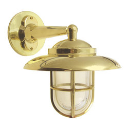 Shiplights - Hooded Wall Light with Cage (Solid Brass / Interior & Exterior by Shiplights) - Our Hooded Wall light is made of solid brass and can be used indoors or outdoors in a wide variety of applications.