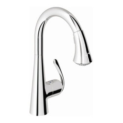 Grohe - Ladylux3 Main Single Handle Single Hole Kitchen Faucet with Dual Spray Pull Down - Features: -Kitchen sink faucet.-Deck mount.-SilkMove ceramic cartridge.-Anti lime system.-Convenient dual spray trigger for hold and release.-On/off function spray control.-Stainless steel braided flexible supplies.-Quick installation system.-Forward rotation lever that does not hit backsplash.-Single lever handle.-SpeedClean technology.-Flow rate: 2.2 gpm at 45 psi.-Flow rate: 2.5 gpm at 80 psi.-ASME/ANSI A112.18.1M certified.-ANSI/NSF standard 61 certified.-ADA compliant.-8.125'' Spout reach.-Solid brass construction.-Ladylux3 collection.-Collection: Ladylux3.-Distressed: No.-Country of Manufacture: Canada.Dimensions: -Overall dimensions: 14.75'' H x 5'' W x 8.125'' D.-Overall Product Weight: 5 lbs.Warranty: -Limited lifetime warranty is provided on all mechanical parts for USA only.-Lifetime warranty is provided on all product for USA only.