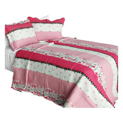 Blancho Bedding - [Fearless] Cotton 3PC Vermicelli-Quilted Striped Printed Quilt Set (Full/Queen) - Set includes a quilt and two quilted shams (one in twin set). Shell and fill are 100% cotton. For convenience, all bedding components are machine washable on cold in the gentle cycle and can be dried on low heat and will last you years. Intricate vermicelli quilting provides a rich surface texture. This vermicelli-quilted quilt set will refresh your bedroom decor instantly, create a cozy and inviting atmosphere and is sure to transform the look of your bedroom or guest room. Dimensions: Full/Queen quilt: 90 inches x 98 inches  Standard sham: 20 inches x 26 inches.