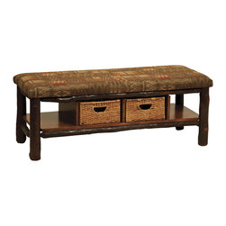 Chelsea Home Furniture - Chelsea Home Maya 48 Inch Bench w/ 2 Baskets - Esquire Standard - This charming Maple Maya Bench with Michael's Cherry stain and log cabin inspired padded upholstered seat is the perfect item to compliment your living room with rustic décor. Place this 18-inch high bench under a window, or in front of your couch to store coffee table books and magazines in 2 hand woven baskets.