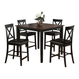 Jofran - Jofran 262 Series 5 Piece Counter Height Dining Table Set - Jofran - Dining Sets - 262 - This Jofran Dining Set is constructed of Birch veneer and solid Asian hardwood in a Burly Brown and Black finish. It includes a counter height dining table and four stools. With a contemporary design and faux leather seats, this Jofran Dining Set will offer a lasting appeal you will enjoy for many years.