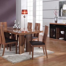Luxurious Rectangular Wooden and Clear Glass Top Italian 5 pc Kitchen Set - Matte walnut finish Italian design modern 5 piece dining room. Shelves offer generous display and storage space for your kitchen and dining necessities. Clear doors for a better viewing of buffet table's contents. Two drawers securely keep your utensils, napkins, and other items.