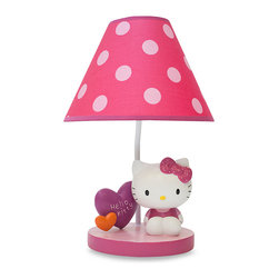 Lambs & Ivy Hello Kitty Garden Lamp - Pink polka dots, hearts and Hello Kitty — the perfect combination for the Hello Kitty fan! This lamp is ideal for the desk or bedroom.