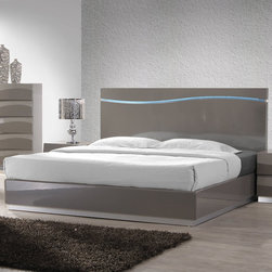 Chintaly Imports - Delhi King Bed - Wood: MDF and Plywood. Accent wave design on headboard. Moisture proof and Fire Resistant.