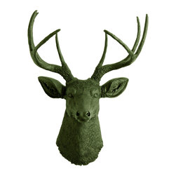 White Faux Taxidermy - The Basil - Forest Green Faux Resin Deer Head - Measurements: