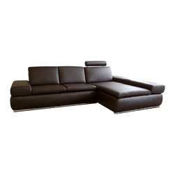 Wholesale Interiors - Daybed Dark Brown Leather - This 2 piece functional sofa set includes sofa and chaise. The chaise can double as 3-Seater when arm rest rises up, arm rest of the chaise is adjustable with 5 different level stages, from 9 degree to 45 degree. Chaise also features an adjustable headrest that is also removable. Interior frame built to last with sturdy construction consisting of kiln dried hardwood, with high density foam padding. Luxurious top grain leather is featured on all the seating surfaces that touch you completes with leatherette on the back and side for longer lasting use and stain resists for easy clean up. The sets completes with unique stainless steel feet with chrome coating. The perfect combination of quality craftsmanship with simple and sophisticated designs, that will instantly enhance any room decor.