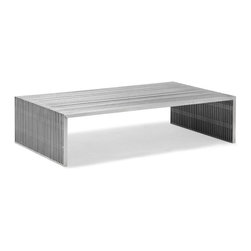Zuo - Slatted Steel Long Coffee Table - The Slatted Steel Long Coffee Table combines strength and beauty in a stunning modern piece for your living room or home office.  It's open slatted design is crafted entirely of 100% stainless steel, while it's strong frame can withstand heavy use.  The substantial scale of the Slatted Steel Long Coffee Table is perfect for anchoring a large seating arrangement.  The Slatted Steel collection also features a console table, square coffee table, dining table, double bench, and single bench.