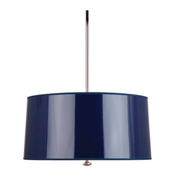 Robert Abbey - Robert Abbey Penelope Pendant N808 - Navy Ceramic Parchment Shade with Silver Mylar Lining