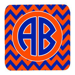 Caroline's Treasures - Chevron for Florida Personalized 2  Initial Foam Coasters, Set of 4 - Foam Coaster - 3 1/2 inches by 3 1/2 inches. Permanently dyed and fade resistant. Great to keep water from your beverage off your table and add a bit of flair to a gatering.  Match with one of the insulated coolers or huggers for a nice gift pack.  Wash the coaster in the top of your dishwasher.  Design will not come off.  Made from our mouse pad material and is heat resistant.
