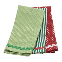 """Home Decorators Collection - Whimsy Dish Towels - Set of 3 - The polka dots, stripes and ric-rac of our Whimsy Dish Towels are rendered in green, white and red. This set of three cotton dish towels works equally well for everyday use or as part of a vintage Christmas decorating concept. Set of three. Ric-rac trim. 0.5"""" hem with mitered corners. Machine washable. Made in India."""