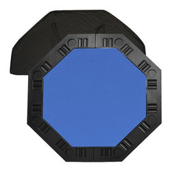 Trademark Global - 8 Player Octagonal Table Top - Comes with a handy carrying case and a molded handle on the table for easy pull-out. 37.25 in. diameter octagonal felt playing surface surrounded by molded plastic cup holders and chip tray perimeter. Pictured in blue color. 48.5 in. L x 48.5 in. W x 0.63 in. H (18 lbs.)It is an 8 player position poker table complete with individual trays for poker chips and a drink holder. The best thing about this table top is its convenience. It is very easy to travel with as it fits into the trunk of a car or the back seat. It's not very heavy for travel but it is solid enough for durable use. Folding the table in half reduces the size to about 2 ft. x 4 ft. for easy storage in a closet or under a bed.