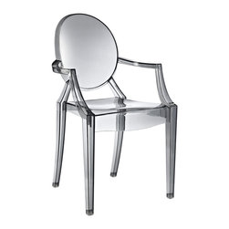 Fine Mod Imports - Clear Arm Chair, Smoke - In spite of the evenescent and crystaline impression, strong resistant to blows, scratchproof and weatherproof; as many as six peices can be piled up. With a strongly charismatic charcter and outstanding aesthetic appeal, this chair fits perfectly into every home or public area with elegance and irony.