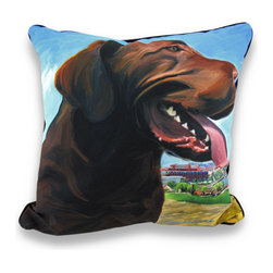 Manual - Robert McClintock View From the Hill Decorative Throw Pillow 18 in. - This beautiful pillow, designed by artist Robert McClintock, will bring to your home a realistic depiction that also offers a fantastic view! This photo-digital illustration has been printed on a 100% polyester cover, has a black backing and is polyester filled. This 18 inch by 18 inch square throw pillow truly captures the essence of this playful yet well-behaved breed, and is a real treat for your living room, bedroom, covered patio or office! It's a great addition to kids rooms, and excellent for a hunting camp, and would make a wonderful gift for any dog lover or chocolate lab fancier!