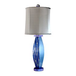 Blue Betty Table Lamp with silk drum shade - The Blue Betty Table Lamp has a sea breezey color motif. Perched on a nightstand or sofa table, it's the perfect accent for a coastal residence and an easy fit for contemporary decor