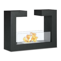 Moda Flame Beja Free Standing Floor Ethanol Fireplace - GF201900BK - Moda Flame Beja Free Standing Floor Indoor Outdoor Ethanol Fireplace in Black - GF201900BKProduct Features Beja modern fireplace has a distinctive contemporary look as a fun geometric shape that is sure to impress. constructed from highest grade of steel, powder coated, includes tempered glass on either side to act as a barrier from the real flame of the fire.Moda Flame ethanol fireplaces do not require any installation or utility connection for fuel supply which makes it ideal for almost any architectural environment. This fireplace is idea for condo, apartment, single family home, restaurants and hotels. The fireplaces are fueled by a renewable modern energy named denatured ethanol, which burns free, emits no fumes, environmentally friendly and is virtually maintenance free.Dimensions: 30.7W x 22.8H x 9.8D Inches / 78W x 58H x 25D cmWeight: 33lbs / 15 kgModa Flame - Modern Comfort, Modern Style, Modern FlameFire is a vital part of everyone?s life however, over the years the use of the flame has changed. Wood burning fireplaces in homes were once a must, but like everything else these too have been improved. Moda Flame decided to revolutionize the concept of a fireplace. Rather than built-in wood burning pits with vents and brick, Moda Flame created free standing, table top, wall mounted or sole burners that can heat up your home without a need for venting, gas lines or remodeling. Moda Flame was created to allow you the beauty of a real fire with no smoke, odor, ash or soot to clean up after.Moda Flame has changed the world of home heating and indoor fireplaces with the introduction of Moda Flame line of bio ethanol burning fireplaces into the world market. Creating a design that required no venting, gas lines, plug-ins or outlets, more heat production, less waste and no environmental impact. Moda Flame was immediately desired by home builders, resorts, hotels, personal homes and large scale deve