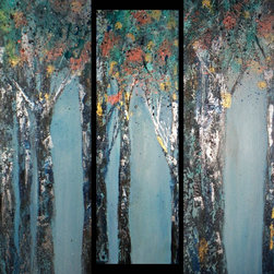 Sheri A.  Wilson - Tree Triptych Black and Blue Forest Paintings - Modern Abstract Whimsical  Triptych