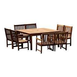 Amazonia - Milano 9 Pc Square Deluxe Table Set - Set includes Square Table and 8 Arm Chairs. Solid Eucalyptus wood and galvanized steel hardware. 100% FSC certified. Free Feron's wood sealer/preservative for longest durability. It works great against the effects of air pollution salt air, and mildew growth. For best protection, perform this maintenance every season or as often as desired. Great functionality. 100% FSC Eucalyptus Wood. Water Repellent Polyester Cushions. Brown finish. Some assembly required. Square Table: 58 in. W x 58 in. D x 29 in. H. Arm Chair: 23 in. W x 19 in. D x 35 in. H. Overall Weight: 210 lbs.Great quality, stylish design patio sets, made of 100% FSC approved Eucalyptus wood. Cotton cushion. Enjoy your patio with elegance all year round with the wonderful Amazonia outdoor collection.
