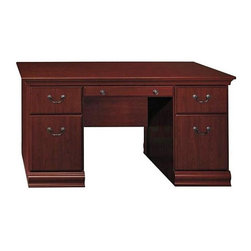 Bush - Executive Desk in Cherry - Birmingham - The Birmingham Collection's warm, cherry finish and classic design combine traditional styling with modern elegance.  This executive desk is crafted with a durable melamine top that is both scratch and stain resistant.  With two box drawers and two file drawers, this desk speaks to beauty and functionality. * Durable melamine top is scratch and stain resistant. Two box drawers for miscellaneous supplies. Two file drawers hold letter-size files and have ball-bearing slides. Pencil drawer included. Assembly required. 59.291 in. W x 29.213 in. D x 30.472 in. H