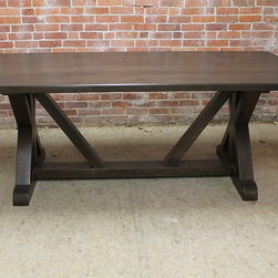 """7' x 42"""" x 2"""" this reclaimed old oak with 4"""" bread board ends. XR style trestle - ecustomfinishes"""