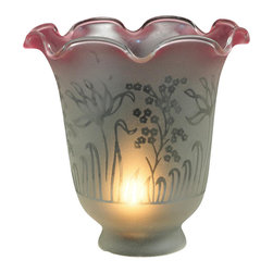 Meyda Tiffany - Ruffle Frost and Pink Etched Replacement Shad - Victorian Floral Country theme. 5.25 in. Dia. x 4.75 in. H
