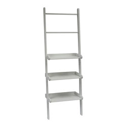 Sourcing Solutions, Inc. - Ladder Shelf, White - Handy, sturdy ladder style shelving with towel bars from RiverRidge®Home offers three shelves and two towel bars. Easy assembly and securely attaches to the wall.  Each Shelf holds up to 12 pounds.  Can also be used in other areas of the home for extra storage space.